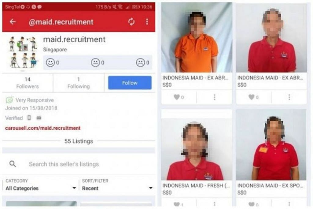 Employment agency suspended for marketing maids on Carousell