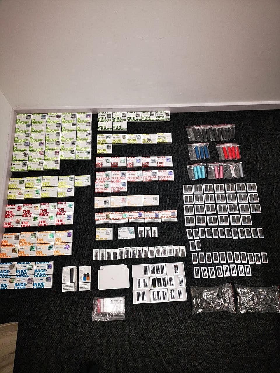 Lelaki diberkas, 32 alat e-vape, 635 katrij cecair elektronik dirampas