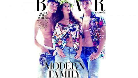 Tiga anak Fandi hiasi muka depan majalah Harper's BAZAAR Singapore