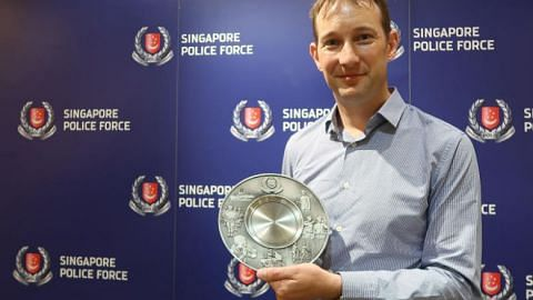 British engineer Keith Goldfinch was awarded the Public Spiritedness Award by the Singapore Police Force on June 25, 2018.