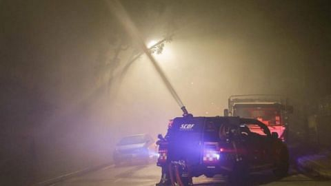 Early morning blaze strikes Defu Lane industrial building; no one hurt