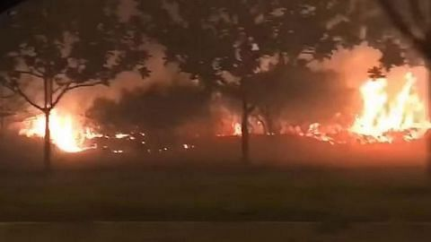 Padang terbakar di Pulau Jurong