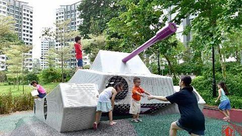 Taman permainan baru cermin warisan estet HDB