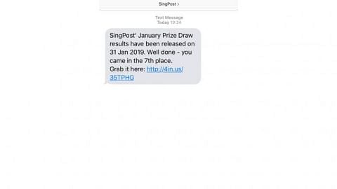 SingPost warns against fake 'lucky draw' messages from scammers