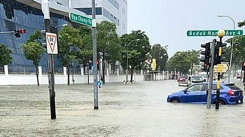 Beberapa bahagian S'pura dilanda banjir
