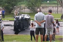 Car overturned, 3 including cabbie injured after accident at Hougang