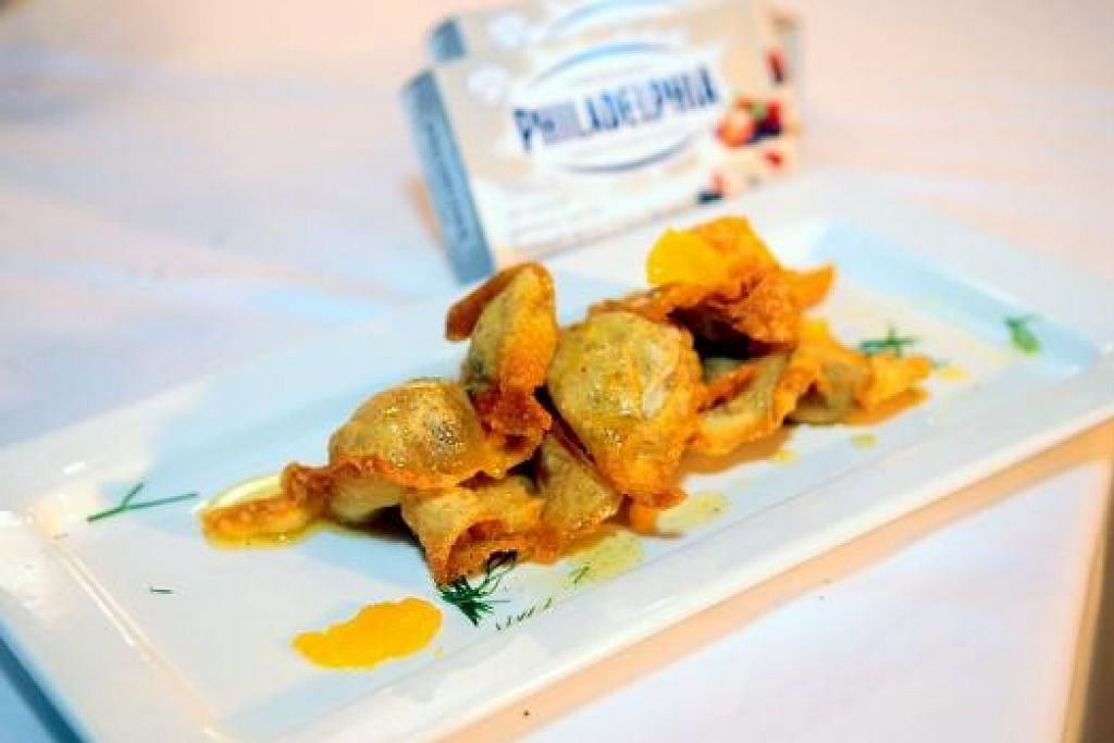 CUBALAH: Hidangan ini menggunakan bahan campuran Timur dan Barat seperti kulit wonton dan keju. – Foto LIFETIME, STARHUB