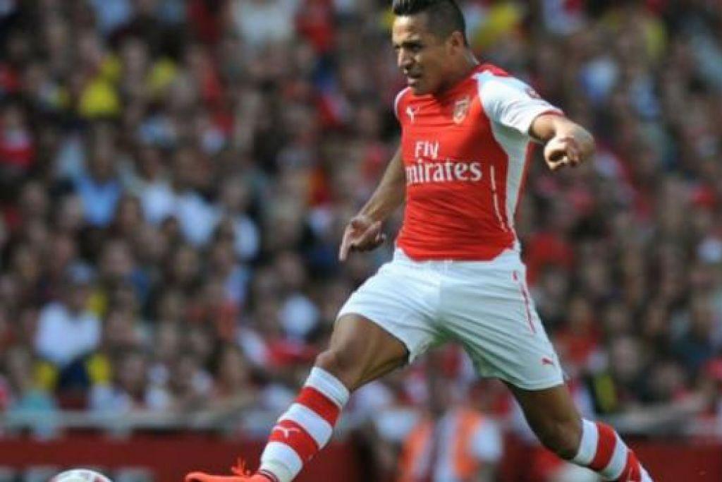 HARAPAN PASUKAN: Kehadiran penyerang Chile, Alexis Sanchez, dijangka pertajam jentera serangan Arsenal musim ini. - Foto AFP