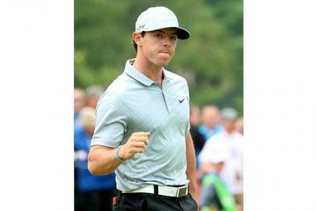 TERUS MENYERLAH: Jaguh golf Ireland Utara, Rory McIlroy, meneruskan prestasi hebat di Kejuaraan PGA ini, selepas menjuarai Terbuka British hanya tiga minggu lalu. – Foto AFP