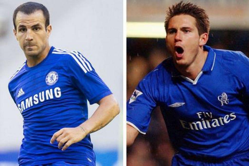 FABREGAS: Ramai pemerhati menganggap Fabregas (kiri) sebagai lebih daripada sesuai menggantikan tempat Lampard (kanan) di tengah midfield Chelsea. – Foto REUTERS, AFP