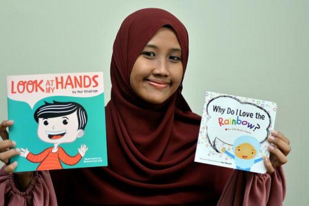 HASILKAN BUKU: Cik Nur Khairiah bukan sahaja menulis buku bahkan melukis sendiri grafik bagi dua buku bahasa Inggerisnya. - Foto M.O. SALLEH