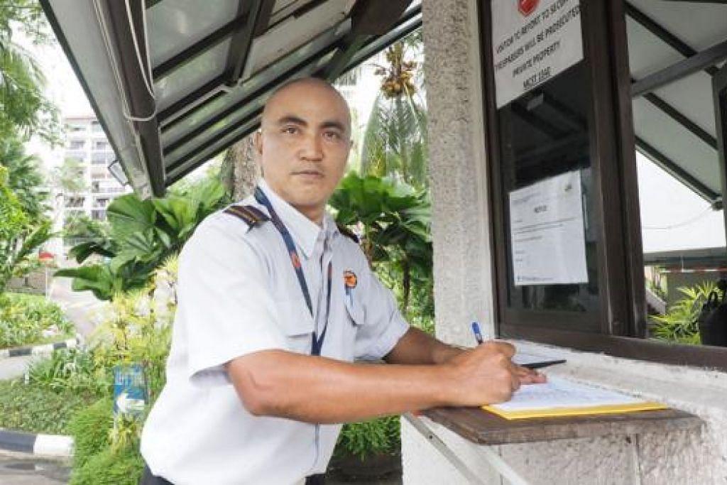 ENCIK MOHD AZHAR ISMAIL: Bekerja 12 jam setiap hari, 8 pagi hingga 8 malam, enam hari seminggu, sebagai pengawal keselamatan.