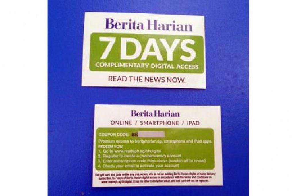 CUBALAH BERDIGITAL: Para pembaca yang ingin mencuba melayari dunia digital Berita Harian secara percuma selama tujuh hari perlu mendapatkan kad ini terlebih dahulu di pejabat BH. - Foto fail