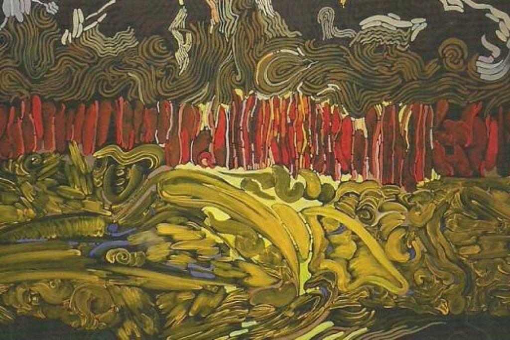 BERKARYA SEMULA: Selepas lama sibuk dalam bidang muzik dan filem, M. Nasir kembali berkarya dalam lukisan seni halus yang dipersembahkan dalam pameran 'Tanda - Solo Dato' M. Nasir' dengan kesemua hasil lukisan habis terjual. - Foto-foto MUHAMMAD SALIHIN SULAIMAN
