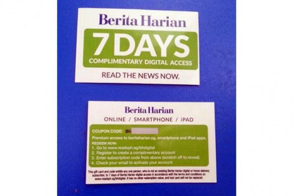 CUBALAH BERDIGITAL: Para pembaca yang ingin mencuba melayari dunia digital Berita Harian secara percuma selama tujuh hari perlu mendapatkan kad ini terlebih dahulu.