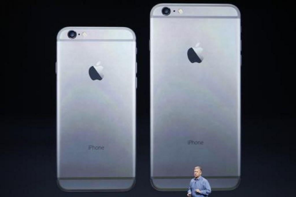 PERKENALKAN PRODUK BARU: Timbalan Presiden Kanan Apple Inc, Encik Phil Schiller, memberikan taklimat mengenai iPhone 6 dan iPhone 6 Plus di Flint Center di Cupertino, California, Sabtu lalu. - Foto REUTERS
