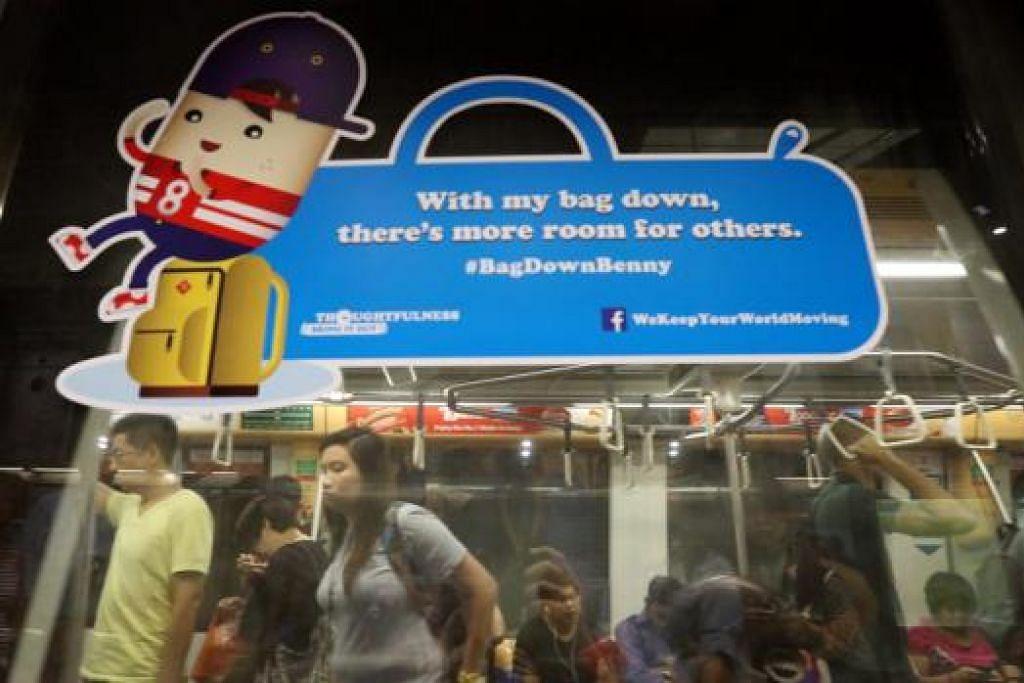 MARI BERTIMBANG RASA: Antara watak kartun baru yang dikenalkan adalah Bag-Down Benny, yang mengajak penumpang meletakkan beg besar di lantai supaya dapat memberi lebih ruang dan laluan kepada yang lain. - Foto THE STRAITS TIMES