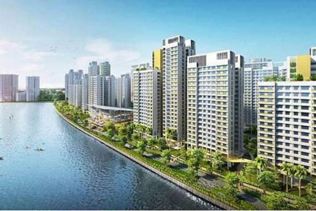 'MAKMAL HIDUP': Teknologi bijak akan diuji di projek perumahan pesisiran pantai Punggol Northshore (lakaran artis) untuk membangun estet perumahan generasi baru. - Foto HDB