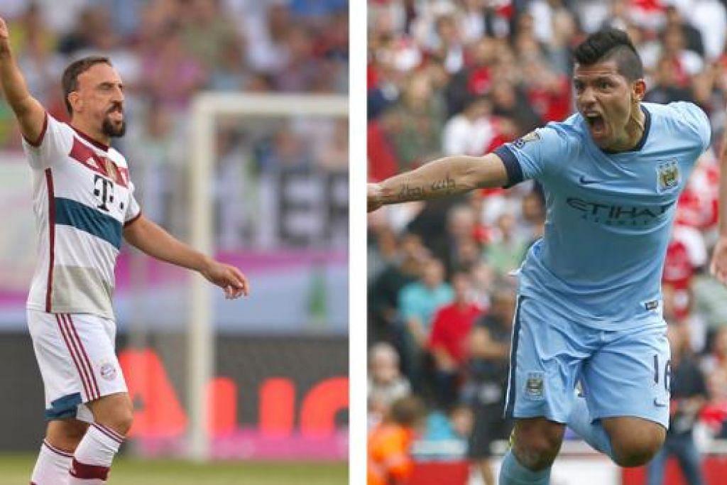 PERTEMUAN DUA PENYERANG: Frank Ribery (kiri) akan bersaing dengan Sergio Aguero (kanan) demi menjaringkan gol dalam pertemuan Liga Juara-Juara antara Bayern Munich dan Manchester City. - Foto-foto AFP, REUTERS
