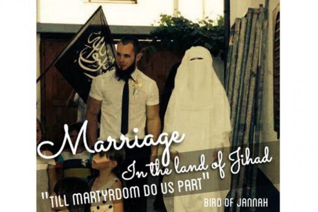 TIMBULKAN KONTROVERSI: Shams bergambar dengan suaminya di Syria. - Foto DIARY OF A MUHAJIRAH