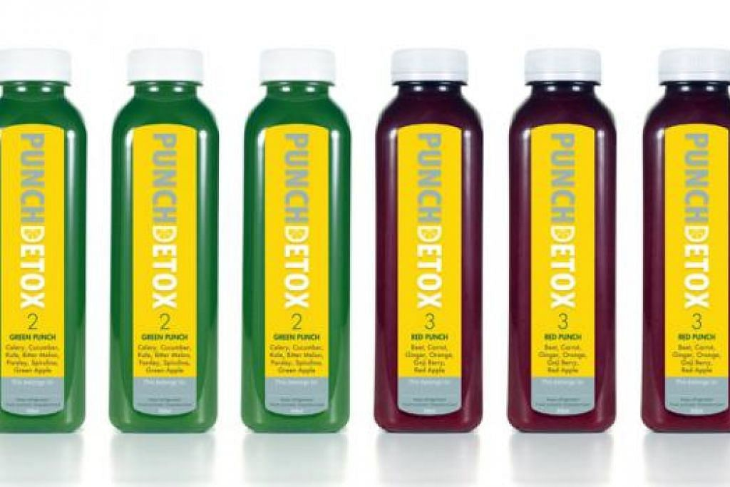 MINUM JUS SAJA: Trend meminum jus buah organik seperti jenama Punch Detox ini kian meningkat di Singapura. - Foto PUNCH DETOX