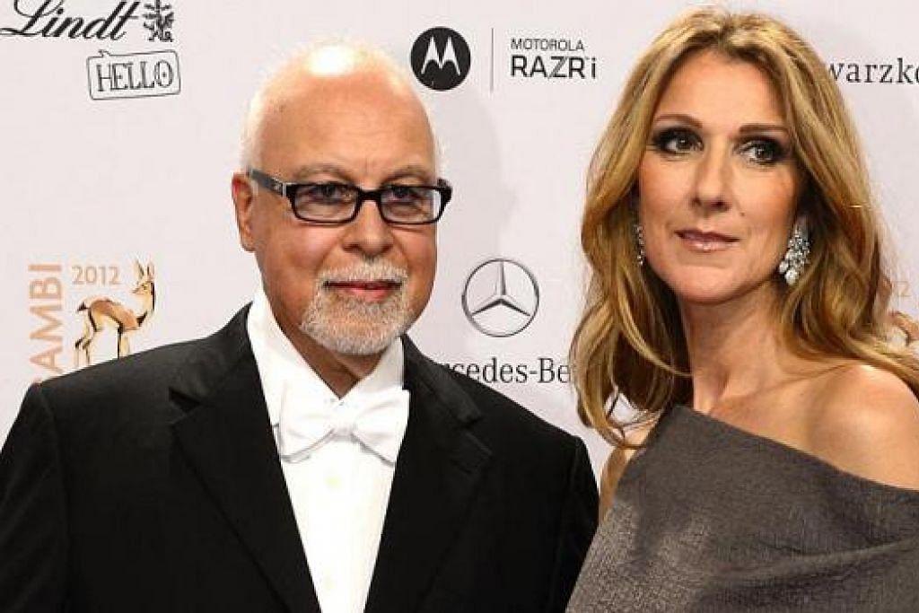 DEMI SUAMI: Celine Dion membatalkan semua lawatannya ke Asia dan persembahan di Las Vegas demi memberi perhatian kepada suaminya, Rene Angelil (kiri), yang menghidapi barah tekak. – Foto AFP