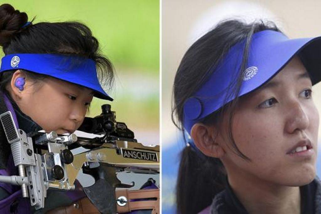 CAPAI PRESTASI MEMBANGGAKAN: Li Yafei (kiri) beraksi dalam final acara 50 meter 'rifle prone', sementara Jasmine Ser beraksi dalam acara saringan 10 meter. - Foto SUKAN SINGAPURA