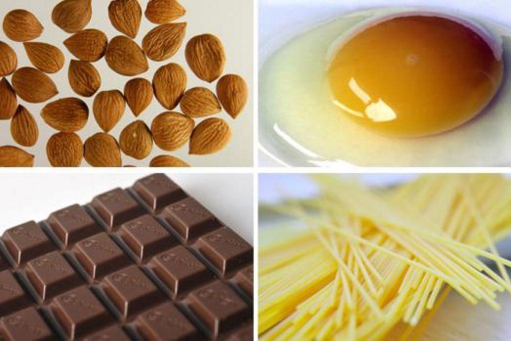 BAIK UNTUK JANTUNG: Memakan (ikut jam dari gambar kiri teratas) badam, telur, pasta dan coklat gelap dikenal pasti dapat membantu menurunkan kadar LDL dan mengawal berat badan. - Foto-foto fail
