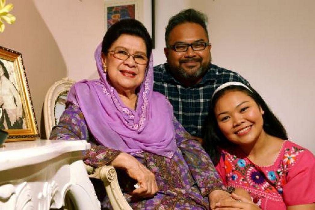 'CUCUKU' SAYANG: Keramahan dan daya humor Datuk Maria Menado membuatkan 'cucu-cucunya' dalam filem 'Our Sister Mambo', Siti Khalijah Zainal dan Muhammad Mahfuz Mazlan cukup selesa. - Foto TUKIMAN WARJI
