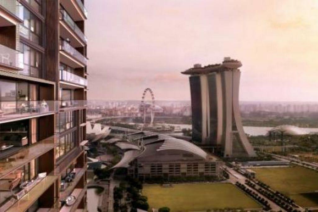 SAUJANA MATA MEMANDANG: Pembeli unit Marina One Residences akan dapat menikmati pemandangan memukau di Marina Bay. - Lakaran artis M+S PTE LTD