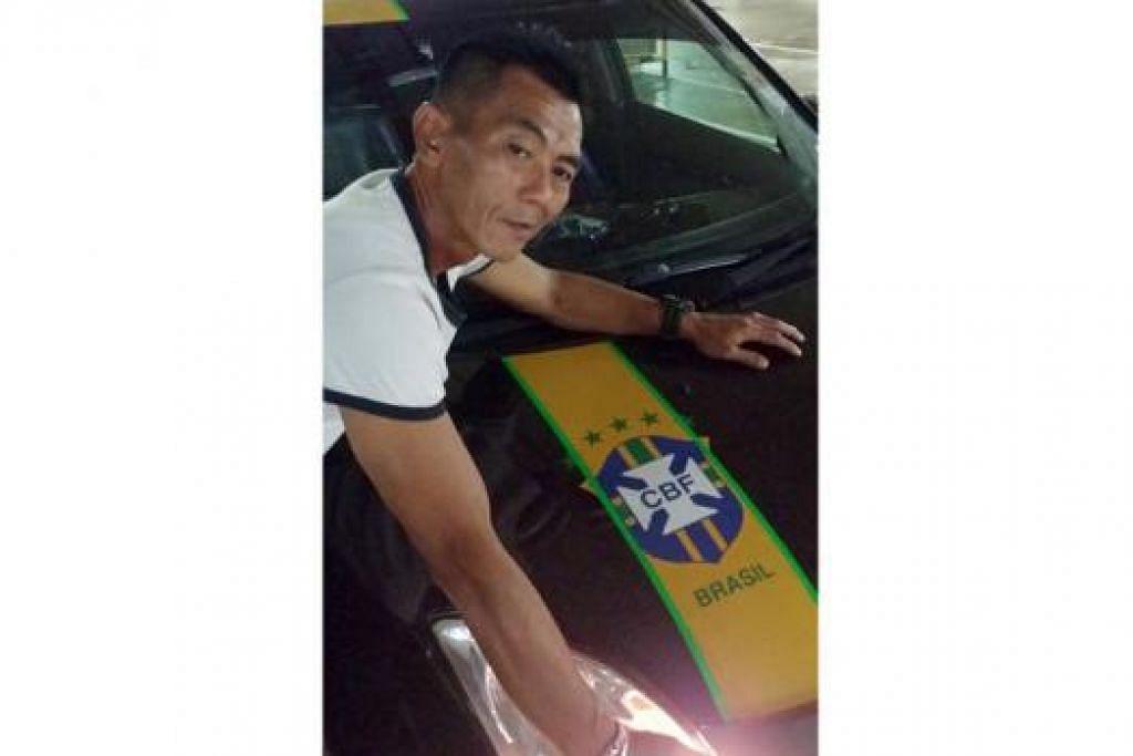 KERETA PUN MINAT BRAZIL!: Encik Sa'adon Saman memang meminati Brazil sejak zaman pasukan Samba itu diwakili Zico dan Falcao. - Foto SA'ADON SAMAN
