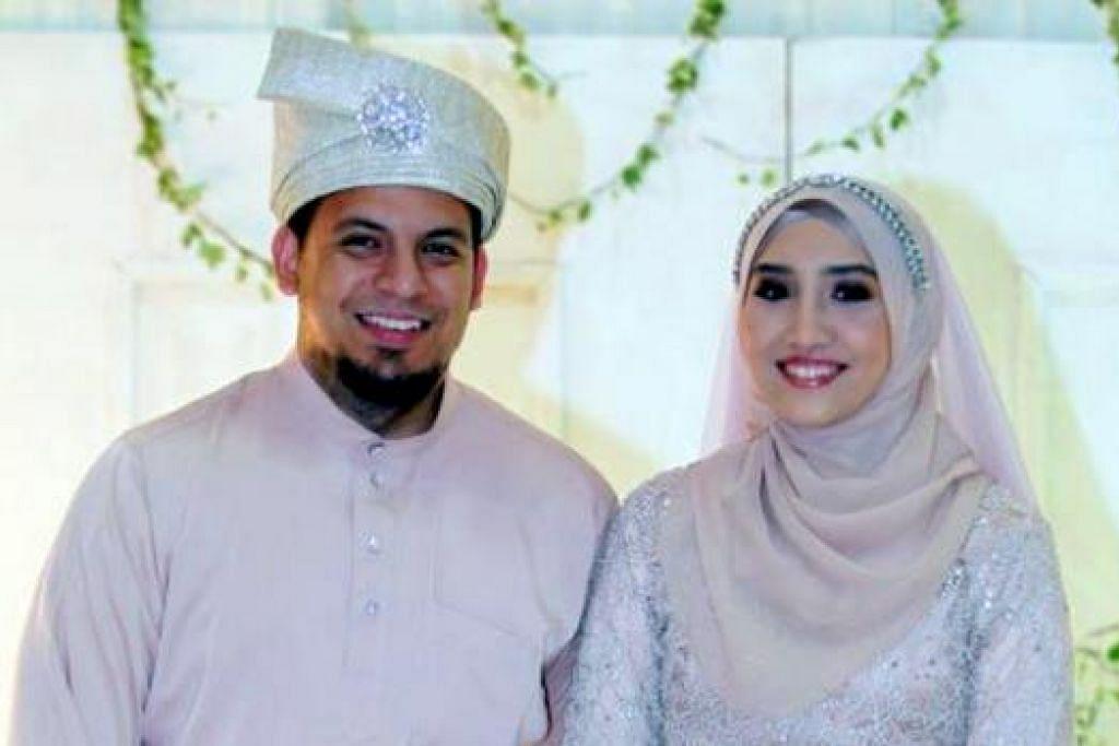 RAJA SEHARI: Aliff bersama isterinya, Nur Athirah, di majlis persandingan mereka yang diadakan di Pusat Konvensyen Shah Alam pada Sabtu lalu. - Foto UTUSAN