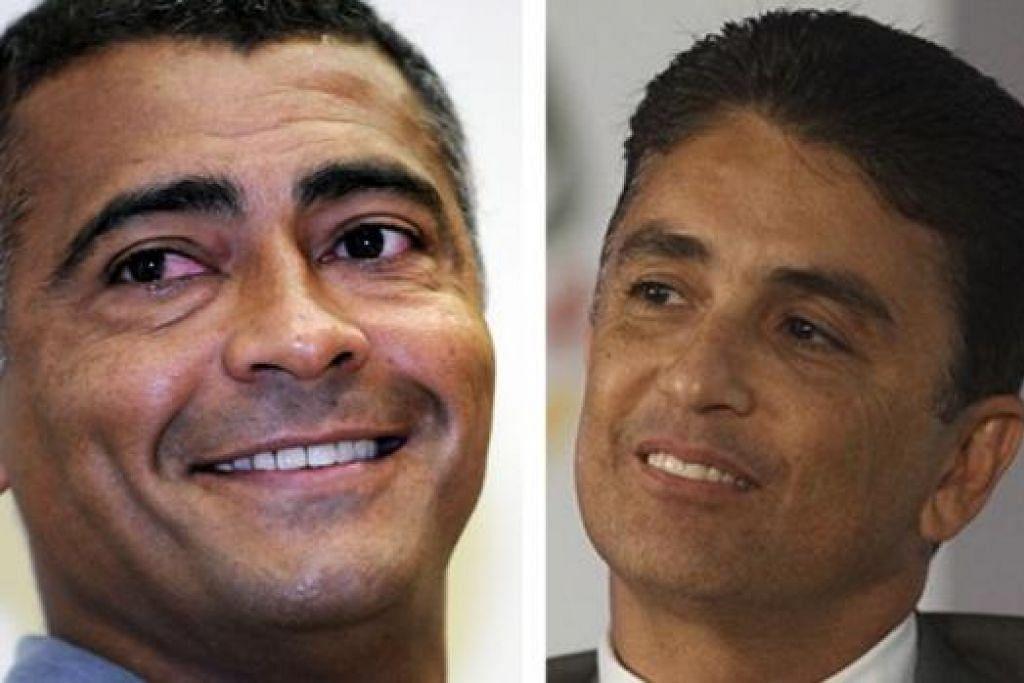 BERTUKAR PERANAN: Romario (kiri) mendapat kerusi Dewan Senat dan Bebeto menang kerusi Parlimen Rio de Janeiro. - Foto fail/FIFA