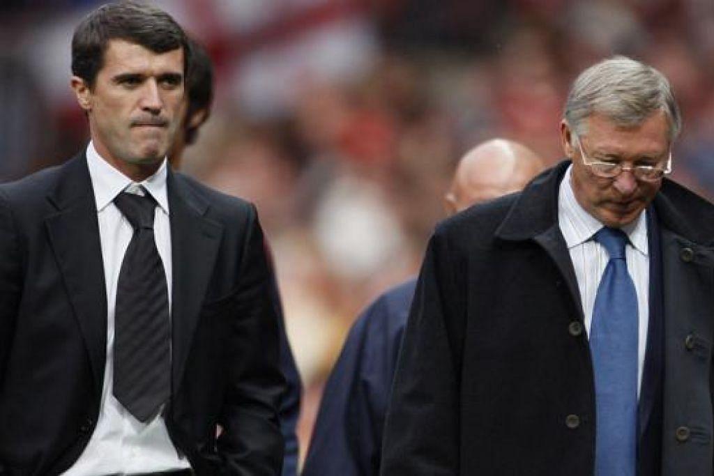 BERTELAGAH: Perselisihan antara Roy Keane (kiri) dengan pengurusnya di Manchester United, Sir Alex Ferguson, memang bukan rahsia lagi dan turut diceritakan dalam autobiografi baru Keane yang bertajuk The Second Half. - Foto REUTERS