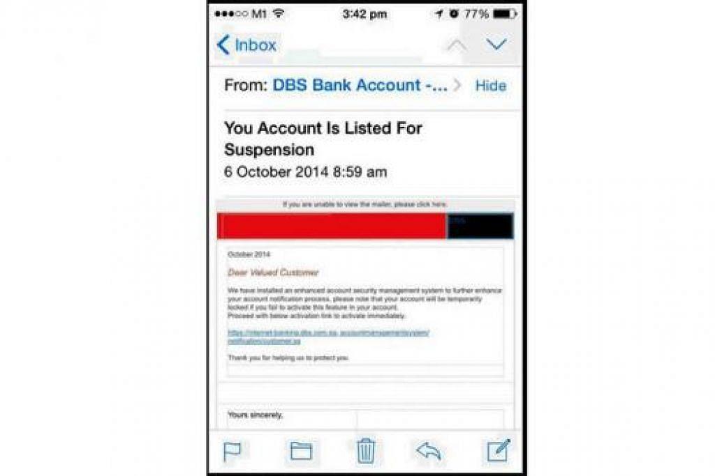 HATI-HATI E-MEL PALSU: Beberapa pelanggan DBS menerima e-mel palsu yang boleh mencuri maklumat peribadi yang penting. - Foto FACEBOOK