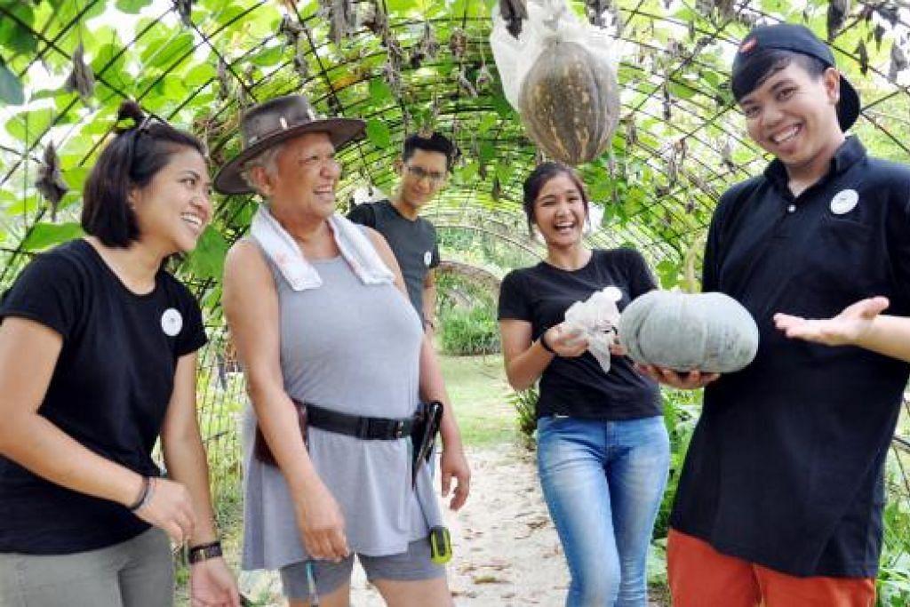 BANYAK BELAJAR TENTANG TUMBUH-TUMBUHAN: Empat sekawan yang bekerja di kebun organik Bollywood Veggies banyak belajar daripada pemiliknya, Cik Ivy Singh Lim (bertopi).