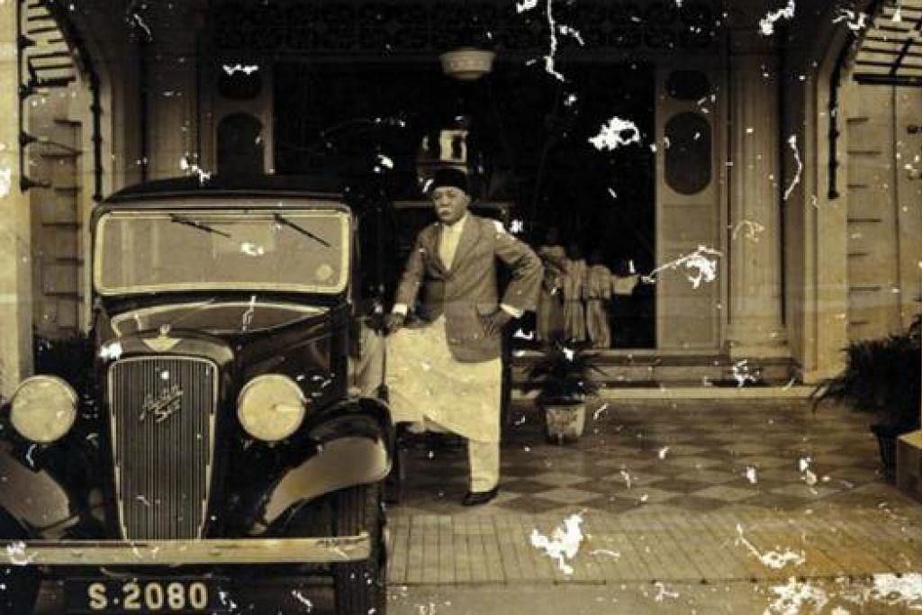 MEWAH: Kereta mewah Austin 6 berharga $3,700 milik Hj Yusoff sebelum Perang Dunia II (gambar) dan Gedung Kuning yang telah diubah elok dan menampung restoran Mamanda kini. - Foto fail
