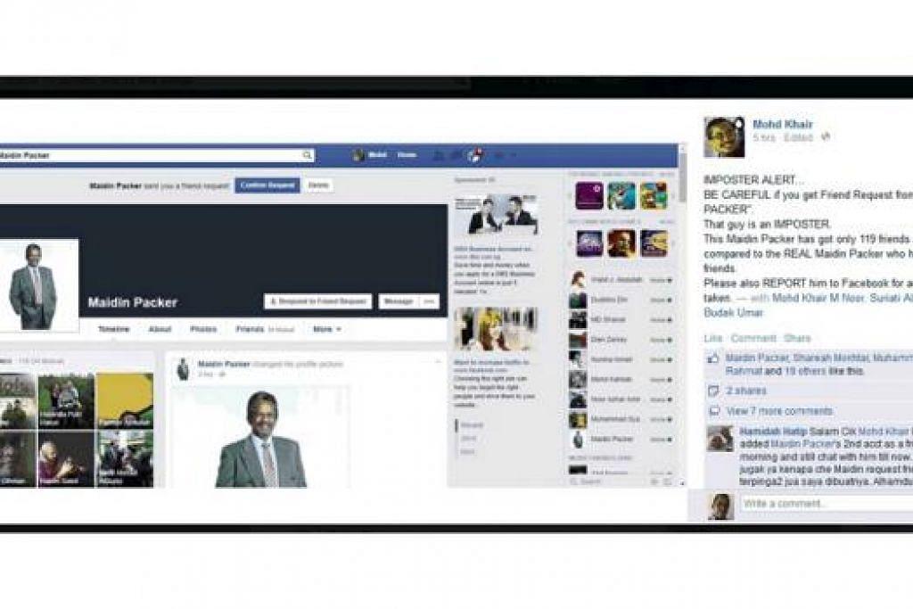 AKAUN PALSU: Ini akaun Facebook (FB) palsu Encik 'Maidin Packer' yang telah dipadam dan ditutup pentadbir sosial media itu kerana dipercayai cuba menipu beberapa rakan FB beliau. - Foto FACEBOOK