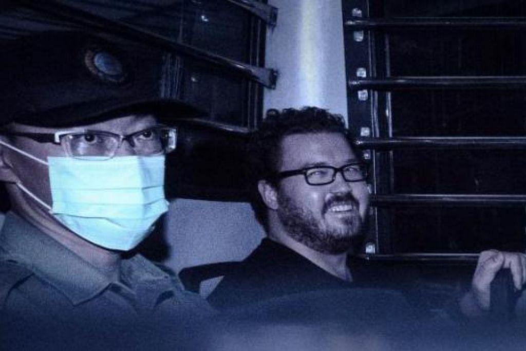 DITAHAN BAGI SIASATAN PSIKIATRI: Rurik Jutting (kiri) yang membunuh dua wanita Indonesia secara kejam ditahan dua minggu lagi bagi menjalani ujian psikiatri. - Foto AFP
