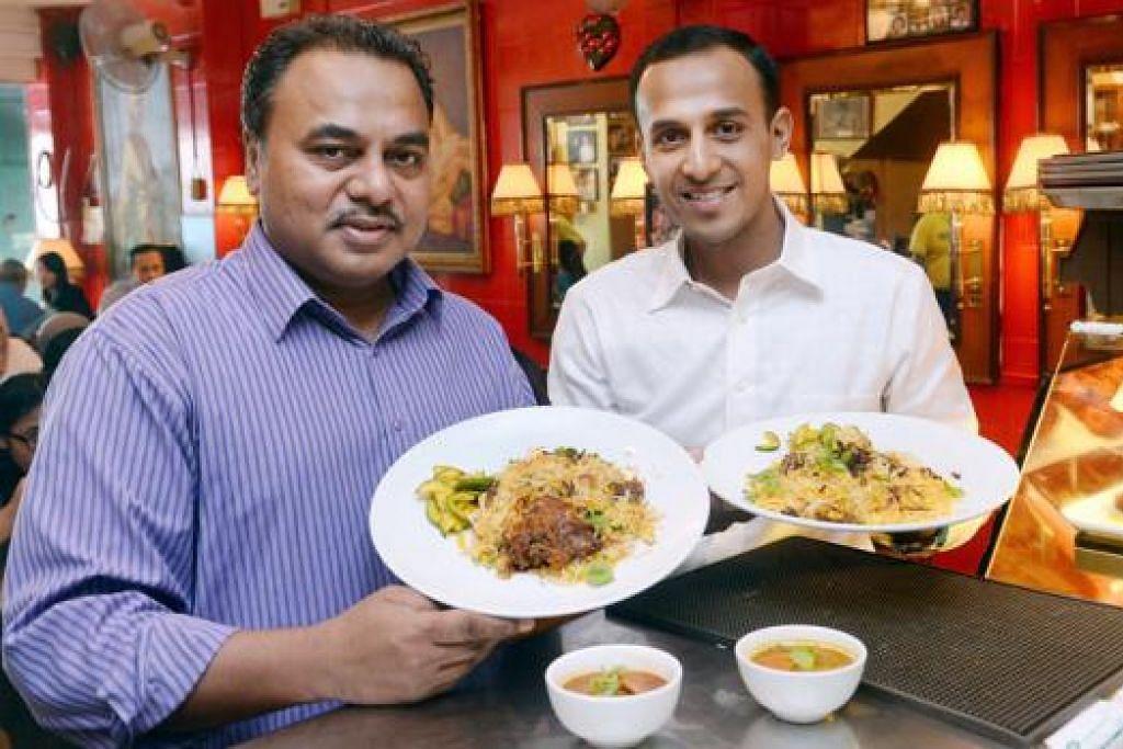 TULANG BELAKANG: Encik Kalil (kiri) menarik anak saudaranya, Encik Irfan Akram, sebagai pemegang saham Restoran Islamic bagi membantunya mengembangkan perniagaan itu. - Foto-foto TAUFIK A. KADER