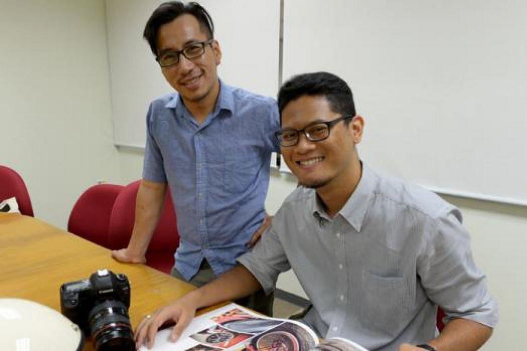 MENGARKIB BUDAYA BERMOTOSIKAL: Encik Mohammad Azhar Talib (kiri) dan Encik Muhammad Juffry Joihani ingin tampilkan gaya hidup penunggang motosikal di Singapura menerusi buku foto meja kopi Nice Ride: Lion City. - Foto TUKIMAN WARJI