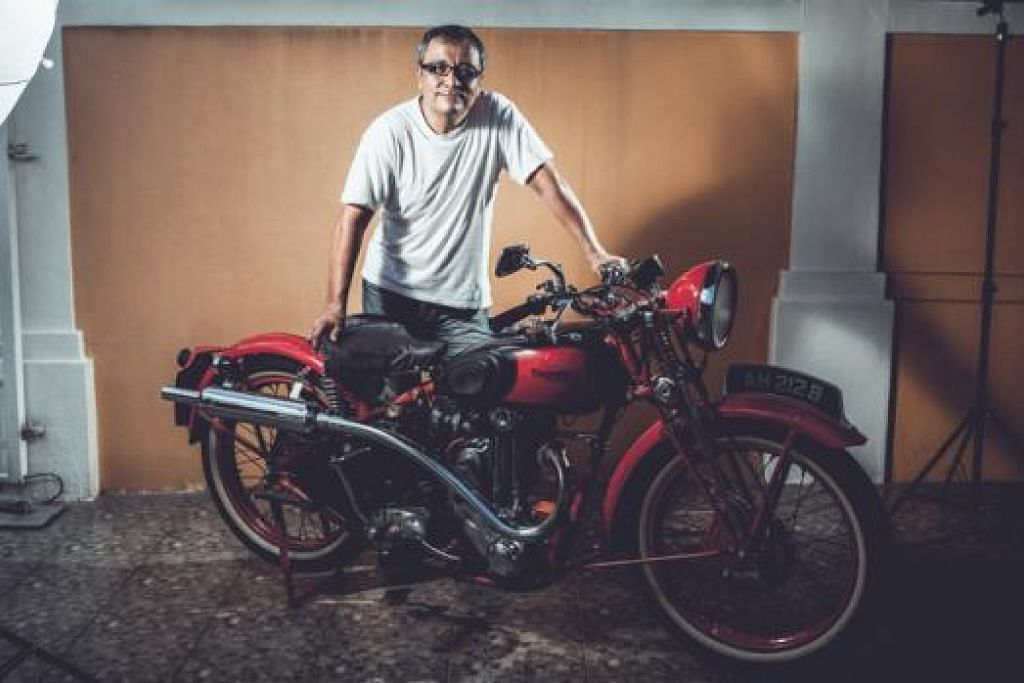 ANTIK: Encik Sarjeet Singh mengumpul motosikal klasik termasuk Triumph Tiger 80 edisi 1938. - Foto ihsan MUHAMMAD JUFFRY JOIHANI