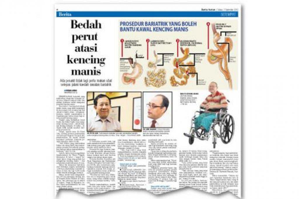 BOLEH SEMBUH: Dr Asim memantau berat badan Encik Shaharuddin bagi memastikan sasaran penurunan berat badan serta diet yang disarankan diikuti agar dapat menjalani kehidupan lebih sihat berbanding sebelumnya (atas).