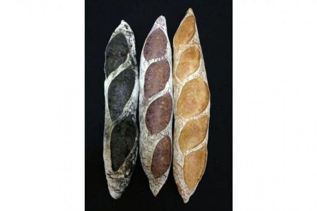 SESEDAP NAMA: Roti-roti Beta Bakerie - (dari kiri) Si Hitam Manis, Si Tengku Ungu dan Si Kunyit Jati.