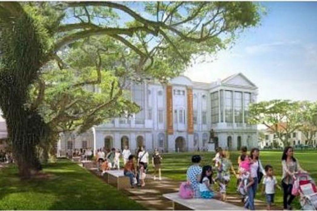 JALAN DITURAP: Empress Place, yang memisahkan ACM dan Panggung Victoria serta Dewan Konsert Victoria, akan diturap menjelang Julai depan bagi memberi keutamaan kepada pejalan kaki dan mewujudkan persekitaran bak taman di situ. - Foto URA