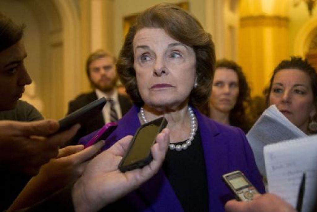 TEMU MEDIA: Ketua Jawatankuasa Risikan Dewan Senat Amerika, Cik Dianne Feinstein, memberitahu pemberita bahawa CIA telah melanggar undang-undang dan nilai Amerika. - Foto BLOOMBERG