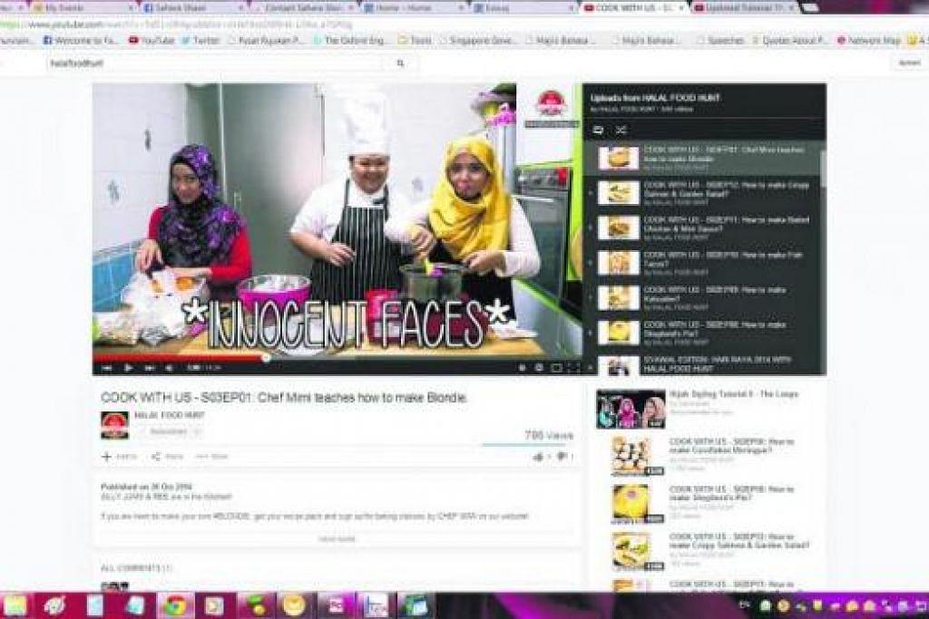 BELAJAR BERSAMA: Pengarah kreatif Halal Food Hunt, Cik 'Arifah 'Atiqah Rahmat (kiri) dan pengurus syarikat Cik Nurjumaiyah Amat Kamsin (kanan) mempelajari cara membuat kuih 'blondie' bersama tukang masak jemputan, Cef Mimi Wahadi, dalam siri ketiga Halal Food Hunt di YouTube. - Foto-foto YOUTUBE dan HFH NETWORKS PTE LTD
