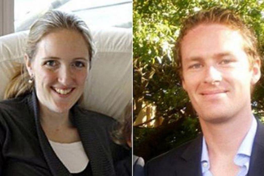 DUA TEBUSAN TERKORBAN - TIDAK BERDOSA: Cik Katrina Dawson (kiri) dan Encik Tori Johnson dinamakan sebagai mangsa insiden tebusan di Sydney. Cik Dawson seorang peguam berusia 38 tahun dan ibu tiga anak. Encik Johnson, 34 tahun, pula pengurus kafe Lindt, tempat insiden itu berlaku.