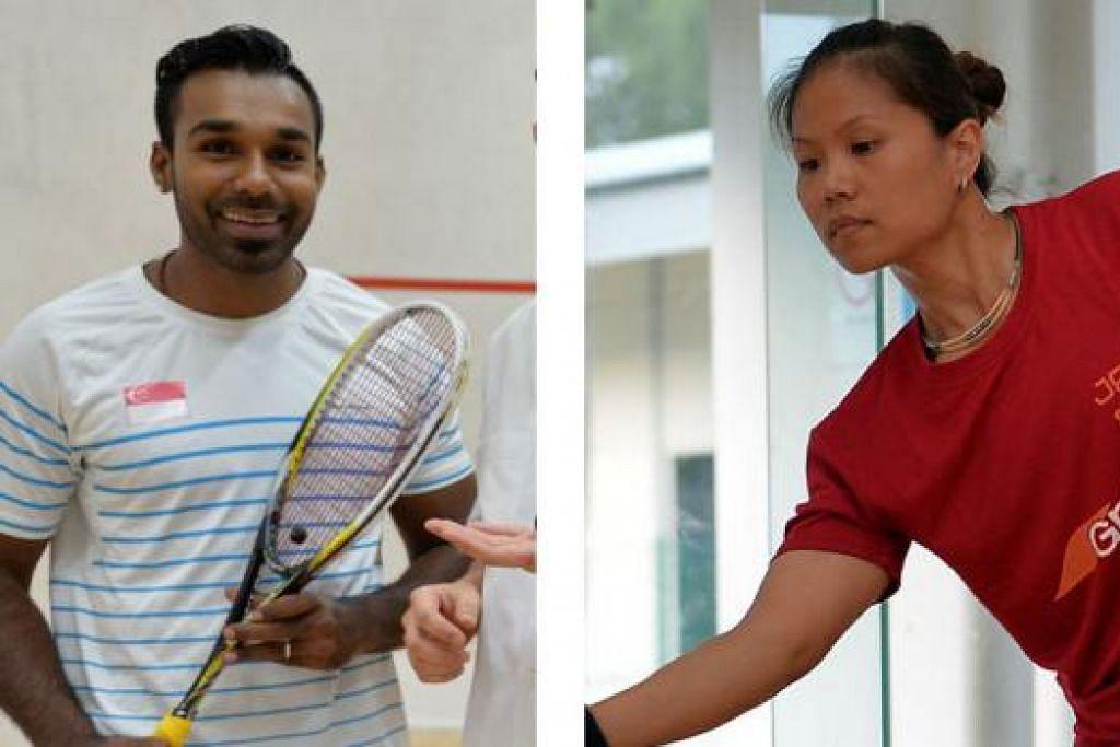 (Kiri) VIVIAN RHAMANAN: Pemain nombor satu Singapura ini mempunyai peluang seimbang melangkah ke final Terbuka Singapura. - Foto fail; (Kanan) NUR ADAWIYAH ABDUL AZIZ: Sasar tempat ke separuh akhir. - Foto fail