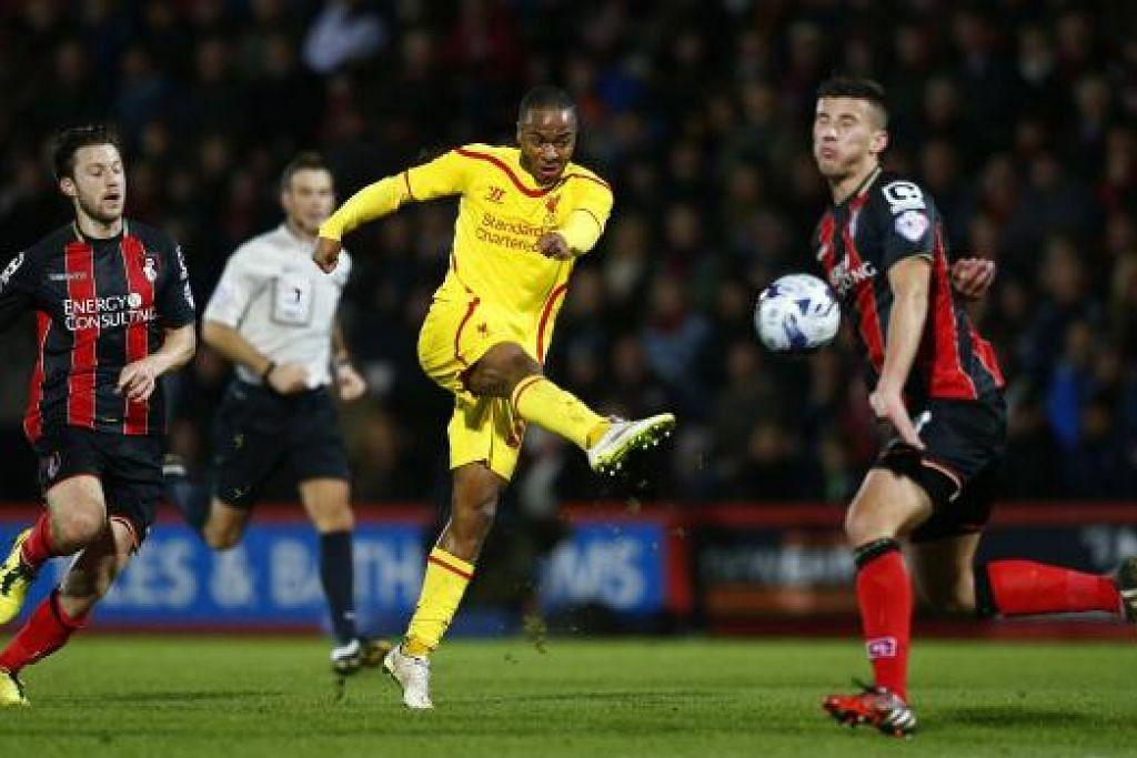 BERSINAR: Raheem Sterling memberikan persembahan hembat, menjaring dua gol dan membantu Liverpool menang 3-1 ke atas Bournemouth.